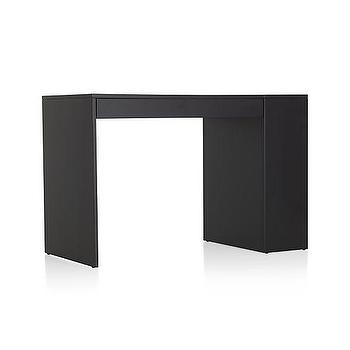 Tables - Treble Black Desk | Crate and Barrel - modern black desk, angular black desk, black single drawer desk,