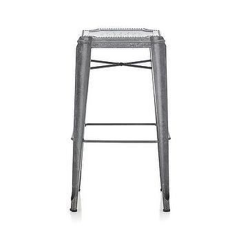 "Seating - Lyle 30"" Backless Bar Stool I Crate and Barrel - galvanized steel barstool, backless steel bar stool, galvanized steel stool,"