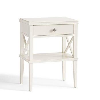 Storage Furniture - Clara Lattice Narrow Bedside Table | Pottery Barn - white lattice beside table, white cottage bedside table, white single drawer bedside table,