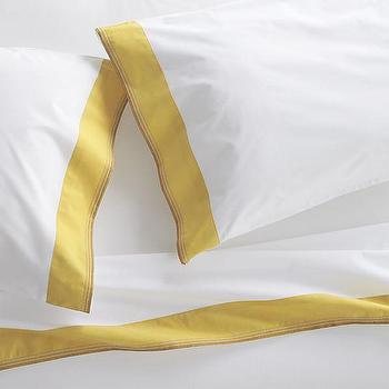 Bath - Miri Yellow Sheet Sets | Crate and Barrel - yellow bordered bed sheets, yellow trimmed bed sheets, yellow banded bed sheets,