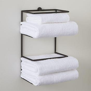 Bath - Jackson Wall Mount Towel Rack | Crate and Barrel - wall mount towel rack, iron towel rack, iron towel shelf,