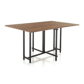 Tables - Origami Drop Leaf Dining Table | Crate and Barrel - iron gateleg dining table, iron drop leaf dining table, metal based wood dining table, metal dining table with wood top,