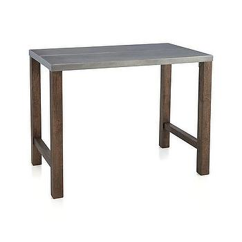 Tables - Galvin High Dining Table | Crate and Barrel - steel topped dining table, steel and wood dining table, high steel topped dining table,
