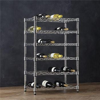 Storage Furniture - Work 36-Bottle Wine Rack | Crate and Barrel - chrome storage shelf, chrome wine rack, chrome wine shelves, industrial wine bottle storage,