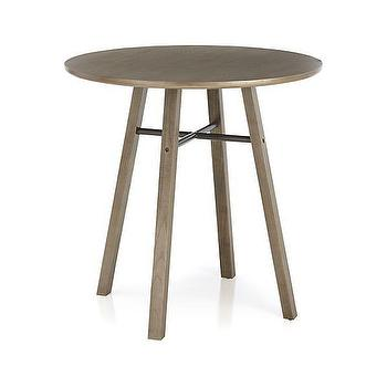 Tiles - Scholar High Dining Table | Crate and Barrel - round gray dining table, round industrial dining table, gray toned round dining table,
