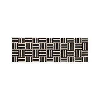 Rugs - Koen Tile Runner | Crate and Barrel - black and white tile runner, black and white geometric runner, black and white modern runner,