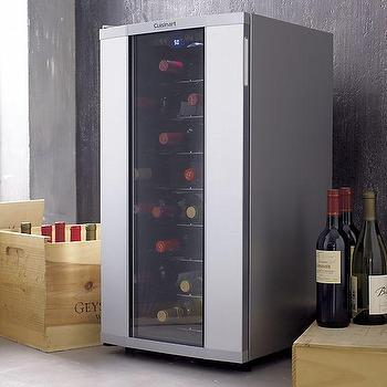 Storage Furniture - Cuisinart 32-Bottle Wine Cellar | Crate and Barrel - glass front wine cellar, countertop wine cellar, countertop wine fridge, countertop wine refrigerator, 36 bottle wine fridge,