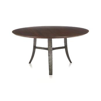 "Tables - Tahoe 60"" Round Dining Table I Crate and Barrel - iron based round dining table, iron and wood round dining table, mahogany topped iron dining table,"