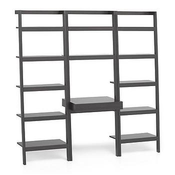 "Storage Furniture - Sawyer Grey Leaning Desk with Two 25"" Bookcases I Crate and Barrel - leaning bookcases, leaning bookcases with desk, mahogany leaning bookcase with desk,"