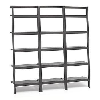 "Storage Furniture - Sawyer Grey Leaning 25"" Bookcases Set of Three I Crate and Barrel - mahogany leaning bookcase, leaning storage bookcase, leaning bookcase,"