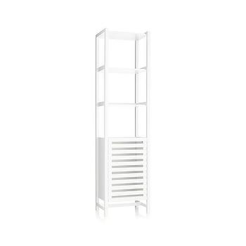 Bath - Banya White Bath Tower | Crate and Barrel - white bath tower, modern bath storage tower, tall white bath cabinet, tall white bath storage,