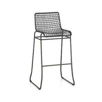"Seating - Tig 30"" Bar Stool I Crate and Barrel - wire bar stool, woven metal barstool, industrial metal barstool, modern industrial barstool,"