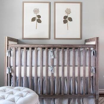 Kylie Frierson Interiors - nurseries: gray and ivory trellis rug, gray trellis rug, nursery trellis rug, gray wash crib, distressed gray crib, gray french style crib, art above crib, pressed floral art, pressed floral prints, gray crib bedding, gray crib skirt, gray button tufted pouf, round gray button tufted pouf, gray ribbon tie crib bedding, gray walls, gray nursery, gray girls nursery, grey nursery, gray trellis rug, french crib, gray french crib, distressed crib, distressed nursery crib, over the crib art, gray linen crib bedding, linen crib bedding, linen nursery bedding, gray linen crib bedding, nursery ottoman, gray tufted ottoman, round gray ottoman,
