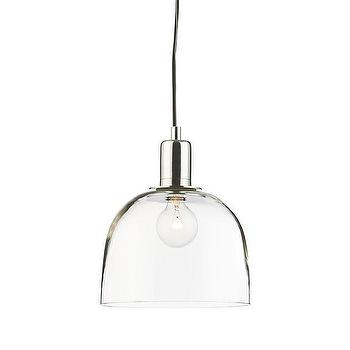 Lighting - Dunn Pendant | Crate and Barrel - glass dome pendant, glass and polished nickel pendant, modern glass pendant light,