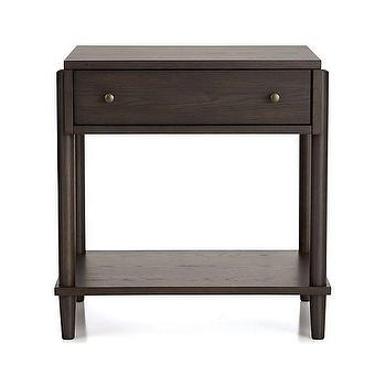 Storage Furniture - Barnes Nightstand | Crate and Barrel - solid oak nightstand, dark oak nightstand, modern oak nightstand, oak single drawer nightstand,