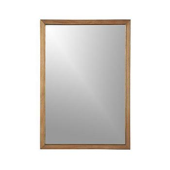 Mirrors - Blake Grey Wash Wall Mirror | Crate and Barrel - brass and wood mirror, teak framed mirror, rectangular teak mirror,