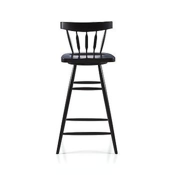"Seating - Willa 30"" Swivel Black Stool I Crate and Barrel - modern windsor bar stool, black windsor swivel stool, swivel windsor barstool,"