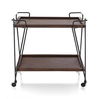 Storage Furniture - Prost Bar Cart | Crate and Barrel - modern bar cart, iron and wood bar cart, iron bar cart with wooden shelves,