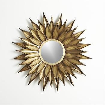 Mirrors - Sunflower Wall Mirror | Crate and Barrel - gold flower mirror, gold sunflower mirror, gold petal mirror,