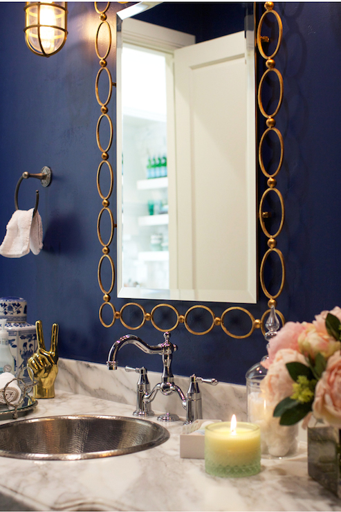 Gold Chain Link Mirror Transitional Bathroom Clark