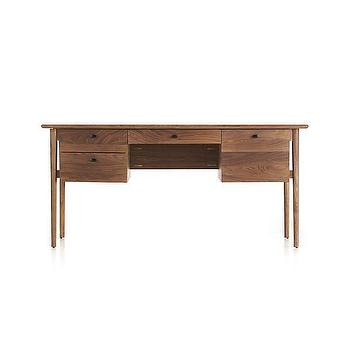 Storage Furniture - Kendall Walnut Desk | Crate and Barrel - black walnut desk, modern walnut desk, walnut desk with file drawers,