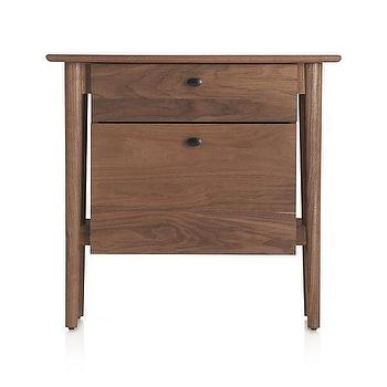 Storage Furniture - Kendall Walnut Filing Cabinet | Crate and Barrel - wooden filing cabinet, black walnut filing cabinet, modern wooden filing cabinet,