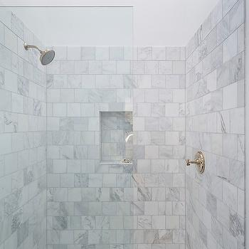 One Kind Design - bathrooms - white marble shower tiles, marble shower surround, marble shower ideas, shower niche, tiled shower niche, marble shower niche, marble shower floor, marble grid tiles, seamless glass shower partition,