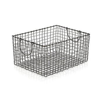 Decor/Accessories - Springfield Metal Basket | Crate and Barrel - wire storage basket, metal storage basket, wire basket with handles,