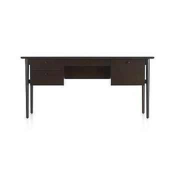 Storage Furniture - Kendall Dark Mocha Desk | Crate and Barrel - dark stained desk, modern dark stained desk, modern desk with file drawers,