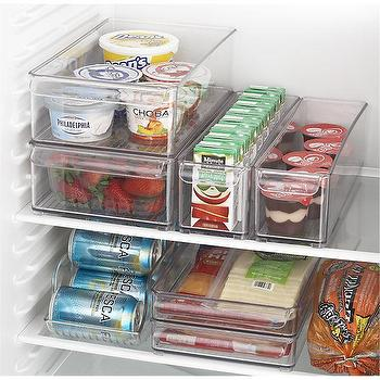 Decor/Accessories - Binz Organizers and Tray | Crate and Barrel - modular fridge trays, stackable fridge storage, see through refrigerator bins,