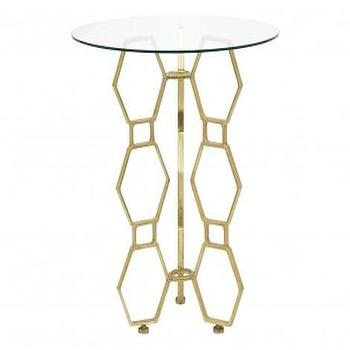 Tables - Honeycomb Brass Table | Jayson Home - honeycomb brass table, brass hex table, brass hex side table, modern brass and glass table, brass and glass side table,