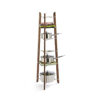 Storage Furniture - J.K. Adams Wood Cookware Stand | Crate and Barrel - wood and steel pot stand, tiered pot rack, tiered pot stand,