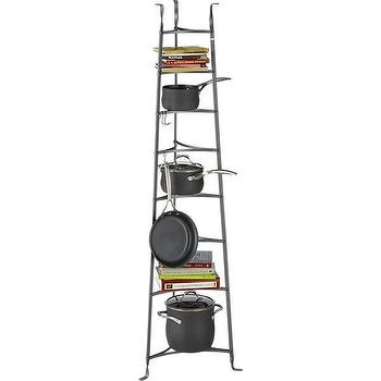 Storage Furniture - Enclume Standing 8-Tier Pot Rack | Crate and Barrel - iron pot rack, tiered iron pot rack, floor pot rack,