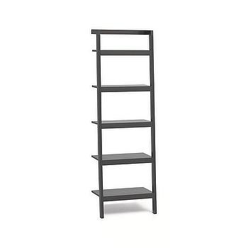 "Storage Furniture - Sawyer Grey Leaning 25"" Bookcase I Crate and Barrel - leaning bookcase, leaning mahogany bookcase, leaning wall bookcase,"