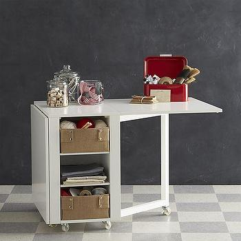 Tables - Hobby Table | Crate and Barrel - rolling storage table, white gateleg table, gateleg table on wheels, gateleg table on castors,