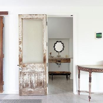 Distressed Sliding Door, Eclectic, bathroom, One Kind Design