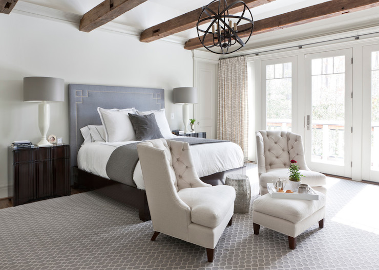 Greek Key Headboard Transitional Bedroom Christine
