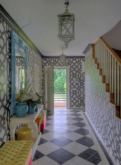 Maria Barros - entrances/foyers - long entry, long foyer, long foyer ideas, long entry ideas, gray lantern, trellis wallpaper, gray trellis wallpaper, foyer wallpaper, wallpaper for foyers, foyer lanterns, entry lanterns, hall lanterns, gray crown molding, turquoise mirror, foyer mirror, foyer table, entry table, white foyer table, white entry table, turquoise planters, yellow bench, yellow tufted bench, black and white tiles, black and white floor, harlequin tiles, harlequin floor, black and white harlequin, black and white harlequin floor,