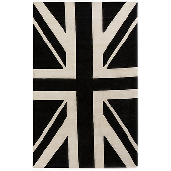 Rugs - Goa Black & White Rug design by Surya I Burke Decor - black and white union jack rug, black and white british flag rug, union jack rug,