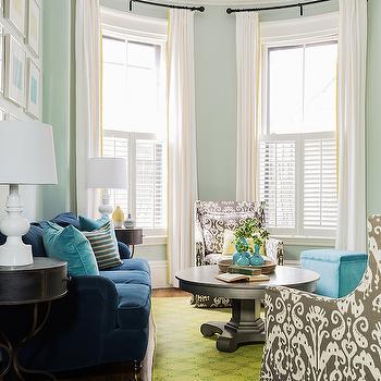 Peacock Blue Sofa, Contemporary, living room, Sabbe Design