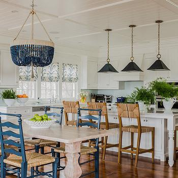Seagrass Counter Stools, Cottage, kitchen, Katie Rosenfeld Design