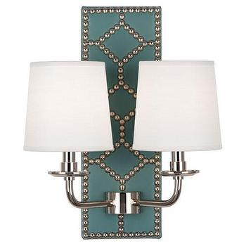 Lighting - Williamsburg Lightfoot Mayo Teal Sconce design by Robert Abbey I Burke Decor - blue leather wall sconce, blue wall sconce with nailhead trim, leather wall sconce with nailhead trim, blue wall sconce, blue and silver wall sconce,