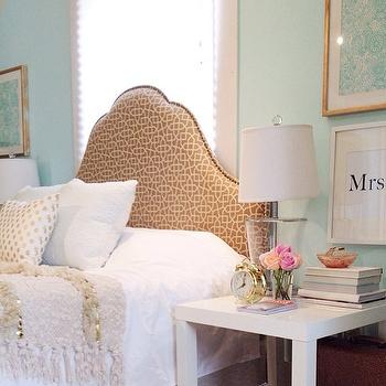 Blush Shop - bedrooms - bed in front of window, headboard in front of window, tiffany blue walls, tiffany blue bedroom walls, geometric headboard, beige geometric headboard, moroccan wedding blanket, parsons bedside tables, parsons nightstands, white parsons nightstand,