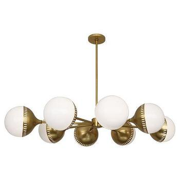 Lighting - Jonathan Adler Rio Chandelier design by Robert Abbey I Burke Decor - retro brass chandelier, antique brass chandelier, antiqued brass and white glass chandelier, antique brass orb chandelier,