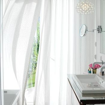 Maria Barros - bathrooms - grommet curtains, white grommet curtains, grommet drapes, white grommet drapes, bathroom curtains, bathroom drapes, contemporary washstand, wall mounted faucet, hanging light pendants, bathroom pendants,