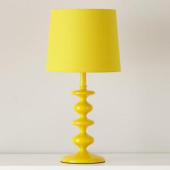 Lighting - Checkmate Table Lamp Base (Yellow) | The Land of Nod - modern yellow table lamp, glossy yellow table lamp, yellow metal table lamp,