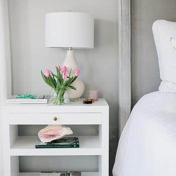 JWS Interiors - bedrooms - gray bedrooms, white and gray bedrooms, gray headboard, gray velvet headboard, white lacquer nightstand, cream double gourd lamp, cream gourd lamp, gray walls, gray bedroom walls,