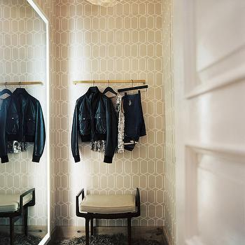 Lonny Magazine - closets - wallpaper for closets, closet wallpaper, trellis wallpaper, modern trellis wallpaper, white floor mirror, closet ottoman, chic closets, walk in closets, closet lighting, closet pendant, closet light pendants, closet chandelier,