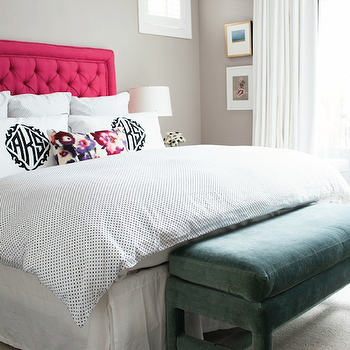 Alexandra Kaehler Design - bedrooms - hot pink headboard, tufted headboard, pink tufted headboard, hot pink tufted headboard, polka dot bedding, silver polka dot bedding, monogrammed shams, floral lumbar pillows, bedroom bench, green bench, green velvet bench,