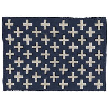 Rugs - Indoor + Outdoor Rug (Blue) | The Land of Nod - navy cross rug, navy cross print rug, navy and ivory geometric rug,